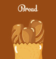delicious breads inside paper bag vector image vector image