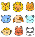 doodle of animal head cute funny collection vector image vector image
