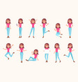 female character in various poses vector image