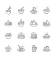 Food dishes icon set isolated on white background