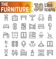furniture line icon set interior symbols vector image