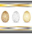 Gold silver bronze eggs vector image