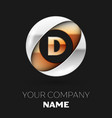 golden letter d logo symbol in the circle shape vector image