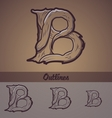 Halloween decorative alphabet - B letter vector image