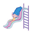 happy childrens day little girl playing slide vector image