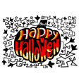 Happy Halloween lettering in pumpkin silhouette vector image vector image