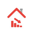 icon concept of sales bar graph moving down under vector image