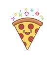 kawaii pizza slice icon cartoon vector image