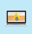 laptop with firewall network security concept vector image vector image