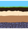 layers of soil with grass vector image