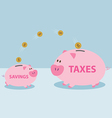 Money from piggy bank to be allowed to pay taxes vector image vector image
