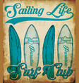 ocean sailing yacht club grunge artwork for t vector image vector image