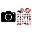 Photo Camera Flat Icon with Bonus vector image vector image