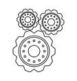 pictogram three gear wheel engine cog icon vector image