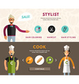 Profession Concept Stylist and Cook Flat Design vector image vector image