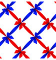 red and blue ribbons and bows grid seamless vector image vector image