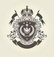 royal coat of arms - heraldic blazon with crown vector image vector image