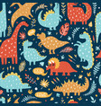 seamless pattern of cute dinosaurs vector image vector image
