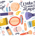 seamless pattern with makeup tools brushes cream vector image