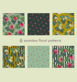 set of 6 seamless floral pattern vector image vector image