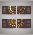 set of golden cards with flower oriental mandala vector image vector image