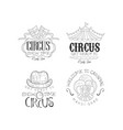 set of sketch style emblems for circus and vector image