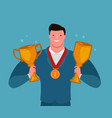 successful businessman holding cup winner vector image vector image