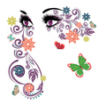 Summer Eyes with Floral4 vector image vector image