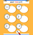 telling time with clock educational activity vector image