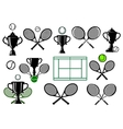 Tennis tournament icons vector image vector image
