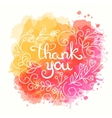 Thank you card Hand drawn lettering design vector image