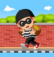 thief carrying bag of money with a dollar sign vector image