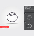 tomato line icon with editable stroke with shadow vector image vector image