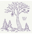 tree sketch nest vector image vector image