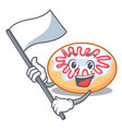 with flag jelly donut mascot cartoon vector image