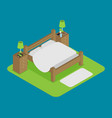 wooden bed for two persons with a pillow and a vector image vector image