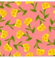yellow canna lily on pink background vector image
