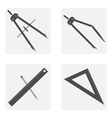 monochrome icon set with drawing tools vector image