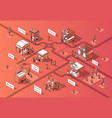 3d isometric food courts urban marketplace vector image