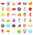 advertising icons set cartoon style vector image