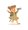 beautiful little girl in scout costume running vector image
