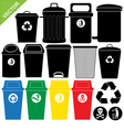 Bin silhouettes vector image vector image