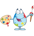 Blue Easter Egg Painter With A Brush And Palette vector image