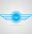 Blue sign of quadrocopter with wings vector image