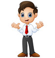 businessman waving both hands vector image