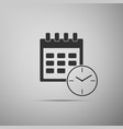 calendar and clock icon on grey background vector image