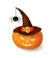 Cartoon Halloween 3d pumpkin with witch hat vector image vector image