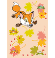 childish fox playing with leaves and frogs vector image vector image