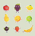 collection of fruits stickers isolated set vector image vector image
