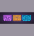 colorful papel picado collection in neon style vector image vector image